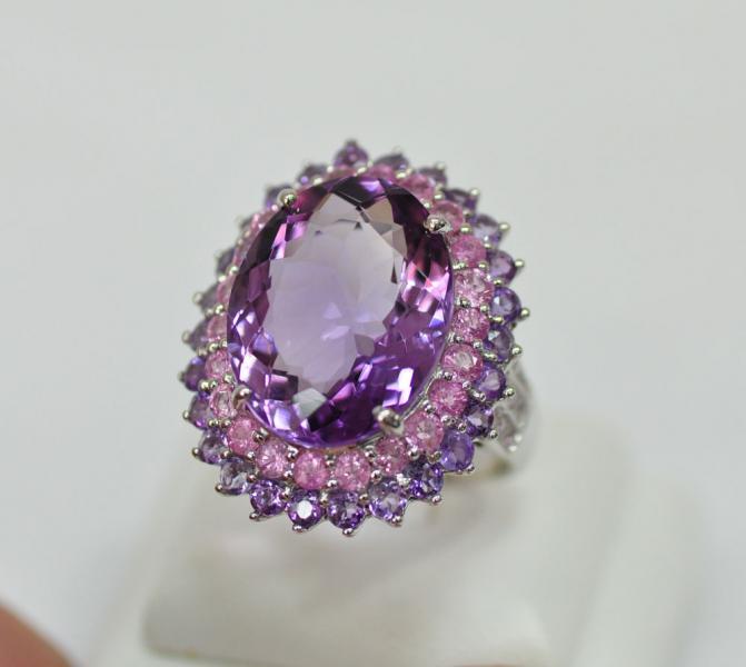 แหวนอเมทีสล้อม พิงค์แซฟไฟซ์